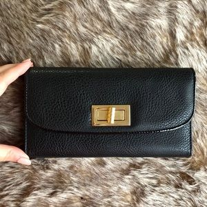 Handbags - Black and Gold Large Wallet